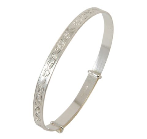 Sterling Silver Celtic Design Bangle - Teenage to Adult Sizes